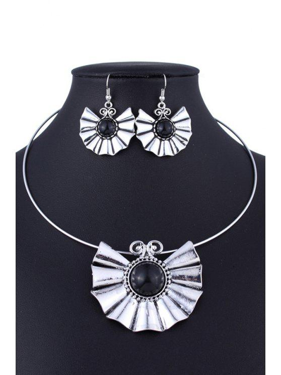 Collar del estilo étnico de la turquesa y errings - Negro