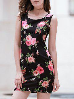 Flora Print Scoop Neck Sleeveless Bodycon Dress - Black L