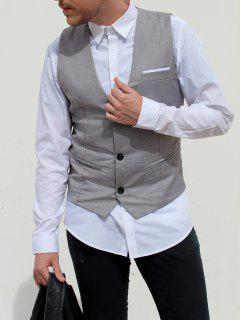 V-Neck Single Breasted Edging Solid Color Sleeveless Waistcoat For Men - Gray M