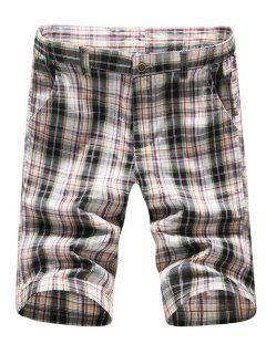 Casual Straight Leg Plaid Printing Zipper Fly Shorts For Men - Checked 35