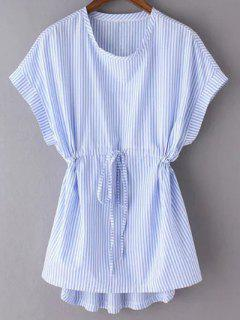 Striped Drawstring Front Top - Blue M