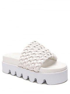 Solid Color Weaving Platform Slippers - White 39