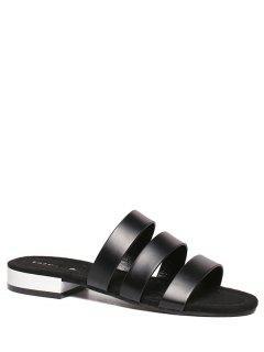 PU Leather Black Flat Heel Slippers - Black 39
