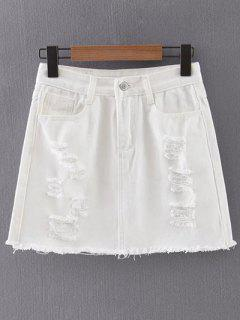 White Ripped Denim Skirt - White S
