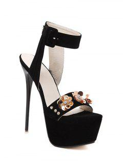 Flower Black Stiletto Heel Sandals - Black 39