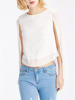 White Cape Design Round Neck Blouse - White S
