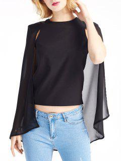 Black Cape Design Round Neck Blouse - Black S
