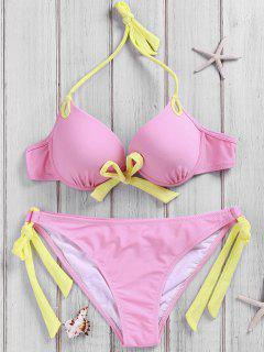 Side-Tie Pink Bikini Set - Pink S
