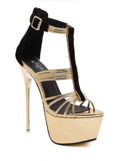 T-Strap Color Block Stiletto Heel Sandals - Golden 39