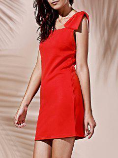 Square Neck Bowknot Mini Cocktail Dress - Red M