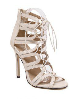 Hollow Out Stiletto Heel Lace-Up Sandals - Apricot 39