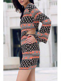 Tribal Print Long Sleeve Crop Top And Mini Skirt - L