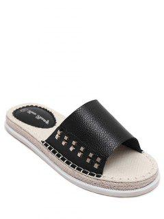 Flat Heel Rivet Weaving Slippers - Black 39