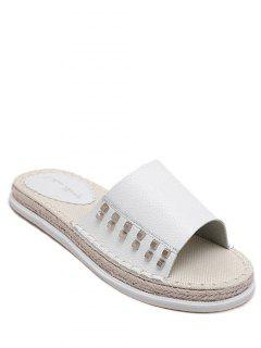 Flat Heel Rivet Weaving Slippers - White 39