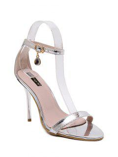 Pendant Ankle Strap Stiletto Heel Sandals - Silver 39