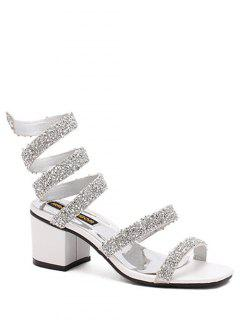 Sequined Strap Chunky Heel Sandals - White 39