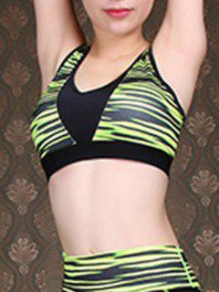 Green Stripe U-Neck Cropped Tank Top - Green M