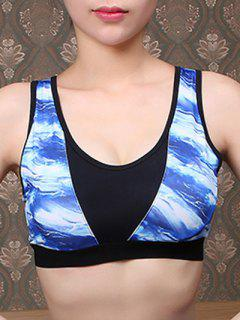 Sporty Blue Print U-Neck Cropped Tank Top - Blue L