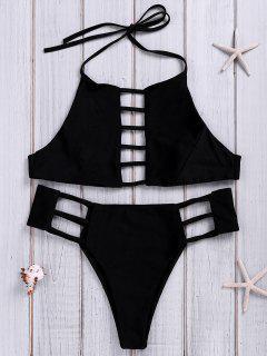 Solid Color Halter Hollow Bikini - Black M