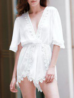 Back Cut Out Plunging Neck 3/4 Sleeve Romper - White Xl