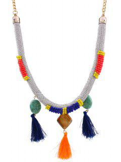 Tassels Beads Bohemian Style Necklace - Silver