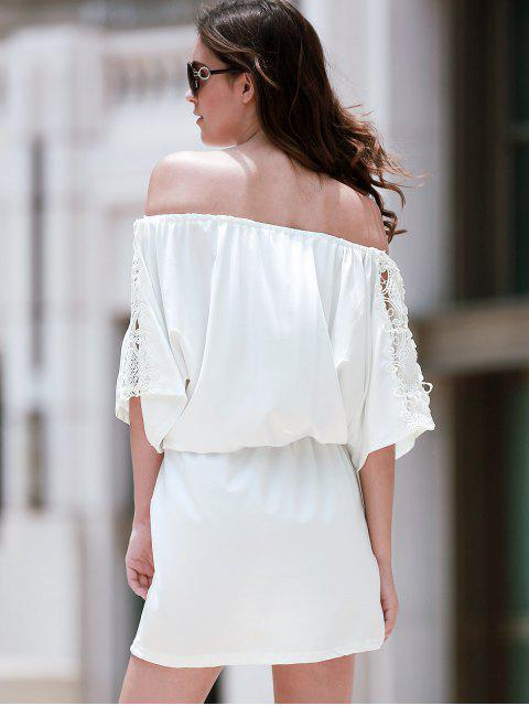 fashion Off The Shoulder Lace Insert A Line Dress - WHITE L Mobile
