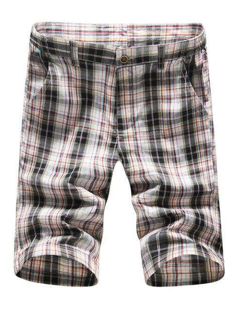 lady Casual Straight Leg Plaid Printing Zipper Fly Shorts For Men - CHECKED 35 Mobile