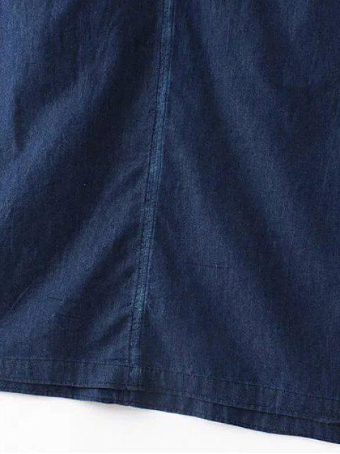 unique Two-Pocket Sleeveless Denim Dress - DEEP BLUE L Mobile