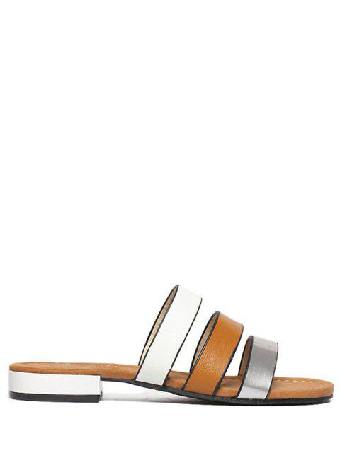 affordable PU Leather Color Block Flat Heel Slippers -   Mobile