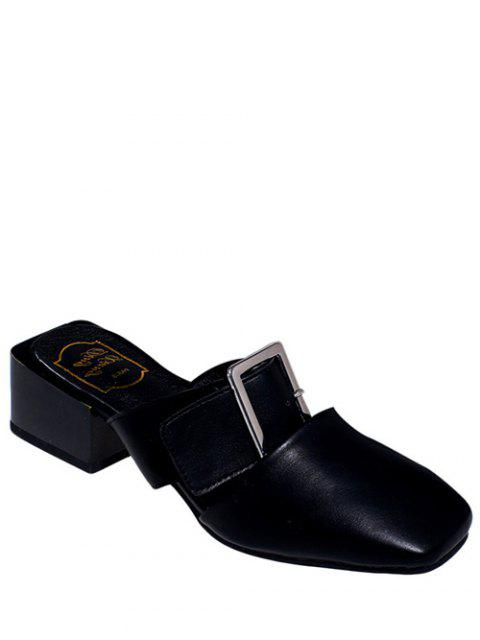 women Solid Color Buckle Chunky Heel Slippers -   Mobile