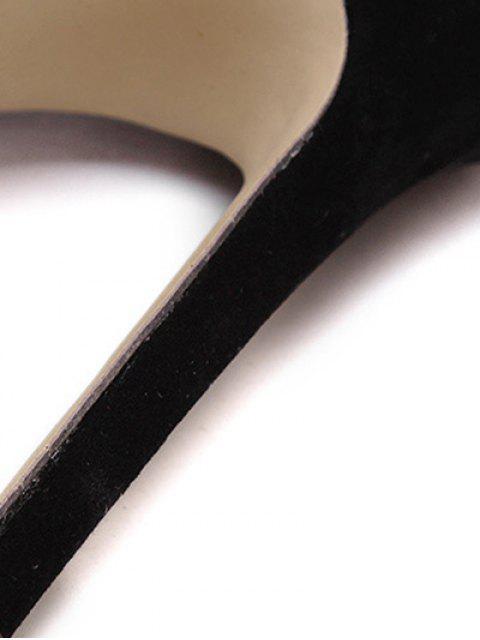 latest Lace-Up Solid Color Stiletto Heel Sandals - BLACK 38 Mobile