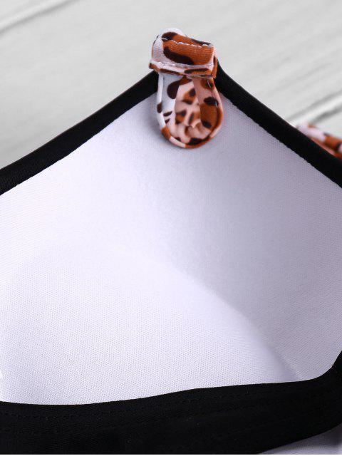 outfit Leopard Strap Push-Up Bikini Set - BLACK S Mobile