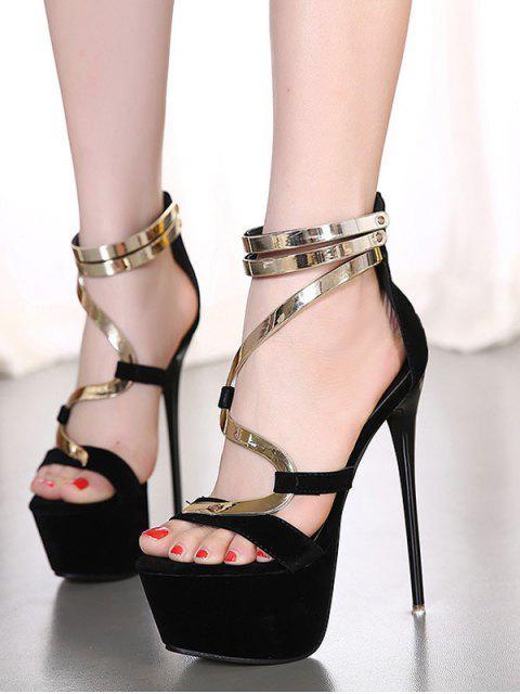 buy Metallic Platform Stiletto Heel Sandals -   Mobile
