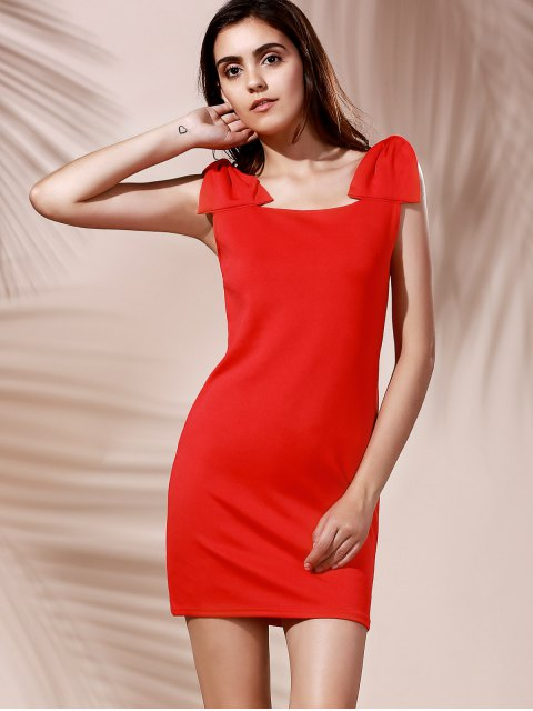 fancy Square Neck Bowknot Mini Cocktail Dress - RED S Mobile