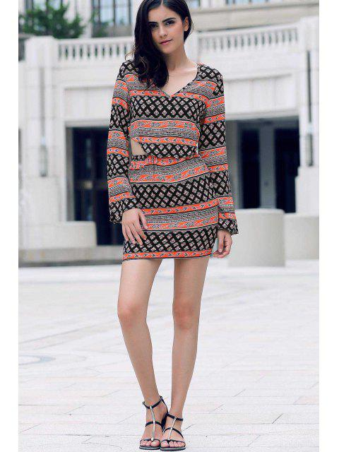 buy Tribal Print Long Sleeve Crop Top and Mini Skirt - COLORMIX XL Mobile