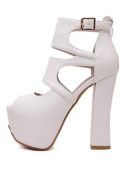 ladies Peep Toe Solid Color Chunky Heel Sandals -   Mobile