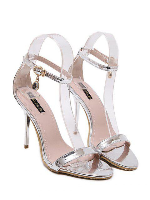 new Pendant Ankle Strap Stiletto Heel Sandals - SILVER 38 Mobile
