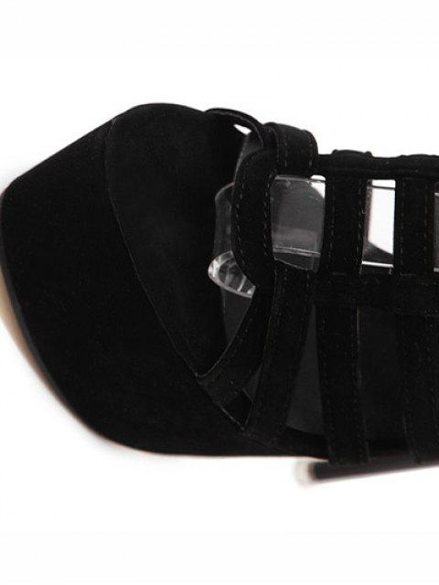 buy Hollow Out Black Stiletto Heel Sandals -   Mobile