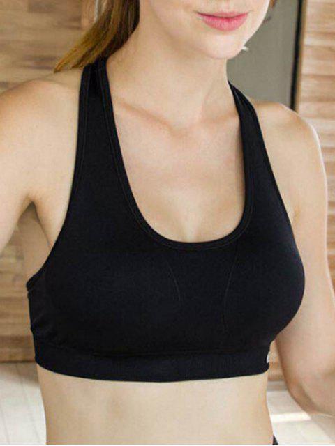 Deportiva color sólido U-cuello sin mangas recortada - Negro L Mobile