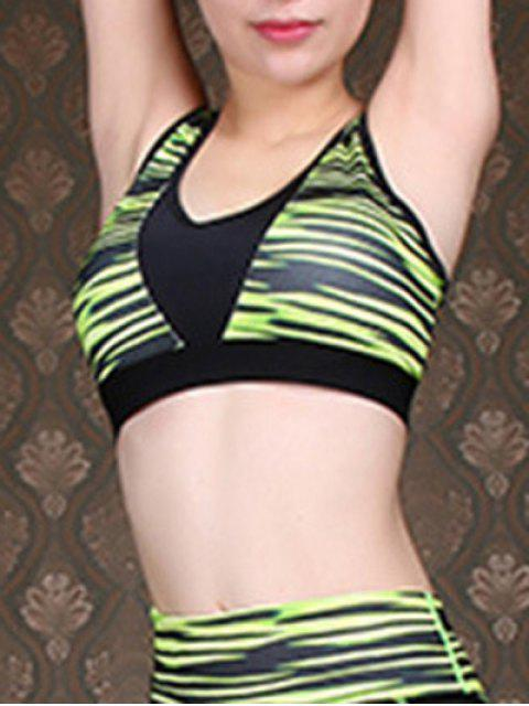 sale Green Stripe U-Neck Cropped Tank Top - GREEN S Mobile