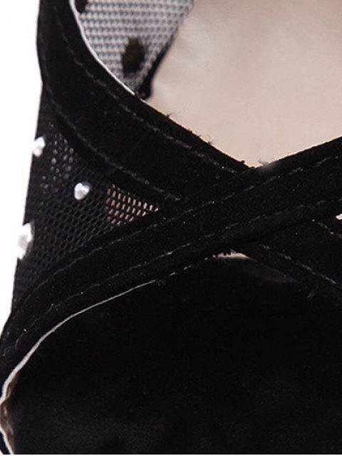 hot Cut Out Gauze Rhinestone Sandals -   Mobile