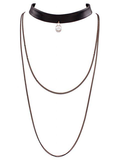 ladies PU Leather Multilayered Chain Necklace - BLACK  Mobile