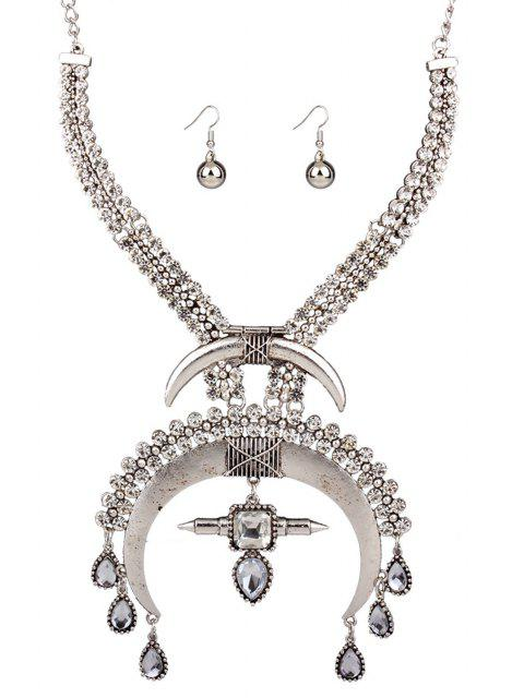 womens Moon Ethnic Fake Collar Necklace and Errings - SILVER  Mobile