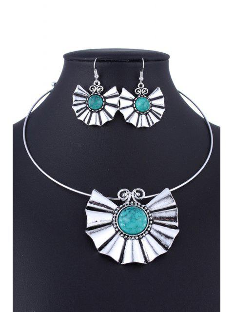 outfits Faux Turquoise Ethnic Style Necklace and Errings - GREEN  Mobile