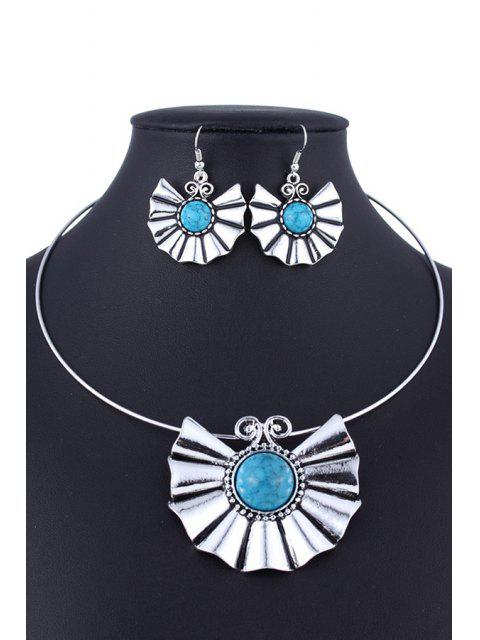 outfit Faux Turquoise Ethnic Style Necklace and Errings - LAKE BLUE  Mobile