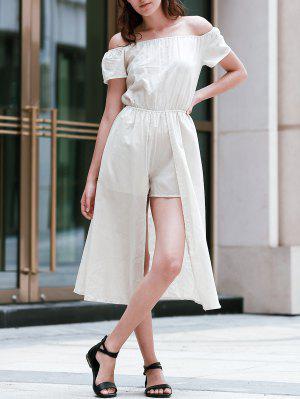 Color Sólido Del Hombro Manga Corta Vestido De Talle - Albaricoque M