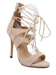 Buy Lace-Up Solid Color Stiletto Heel Sandals - APRICOT 39