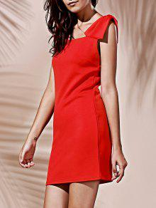 Square Neck Bowknot Mini Cocktail Dress - Red Xl