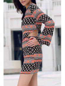 Tribal Print Long Sleeve Crop Top And Mini Skirt - M