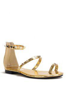 Buy Rivet Toe Ring Metallic Color Sandals - GOLDEN 38